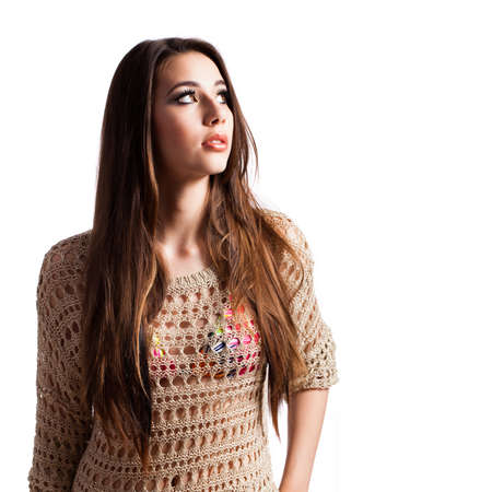 young brunette girl isolated on white Stock Photo
