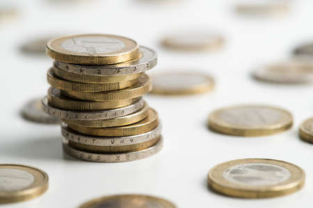 currencies: stacked euro coins Stock Photo