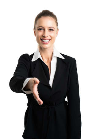 attractive businesswoman ready to shake hands Stock Photo