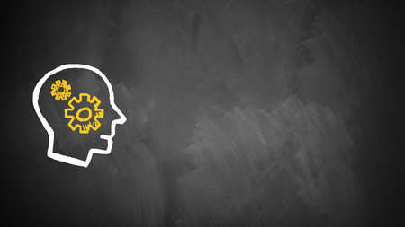 drawn head on a chalkboard with gears, symbolizing brainstorming Stock Photo