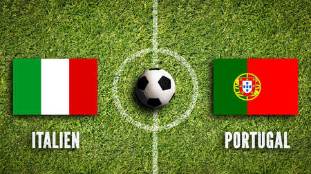 grooming: Flags of Italy and Portugal on a soccer field Stock Photo