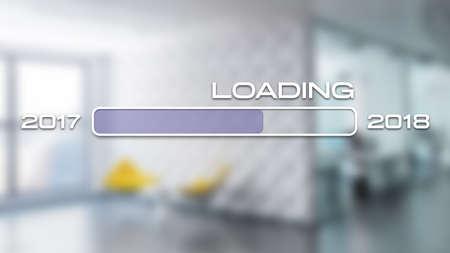 barre de progression montrant le chargement de 2018 devant une scène de bureau
