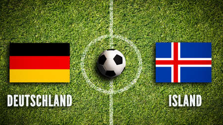 Flags of Germany and Iceland on a soccer field