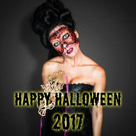 creepy fashion zombie with Happy Halloween message