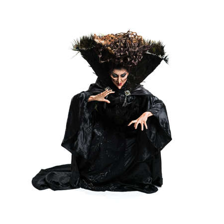 scary witch isolated on white