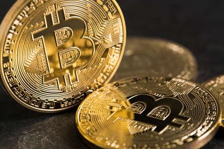 bitcoins on slate background Stock Photo