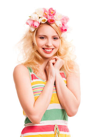 beautiful blonde woman with tulip hair decoration isolated on white Stock Photo
