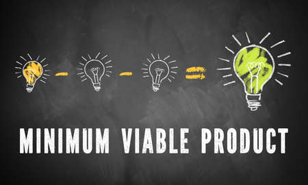 blackboard with infographic showing that reducing an idea to a minimum viable product can be better 스톡 콘텐츠 - 102206636
