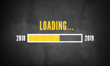 progress bar showing loading of 2019 drawn on a chalkboard Archivio Fotografico - 103236528