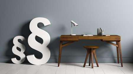 3D rendering of paragraph symbols standing besides a desk