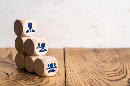 organization and team structure symbolized with cubes Reklamní fotografie