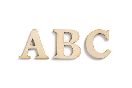 wooden letters ABC isolated on white background Stok Fotoğraf