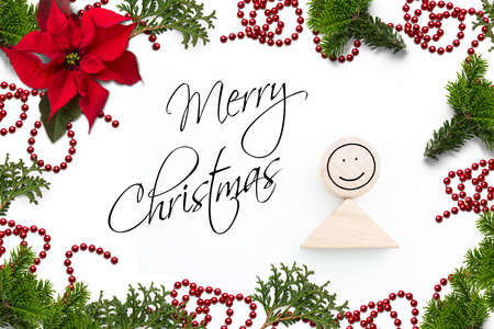 Christmas decoration on white  background and the message