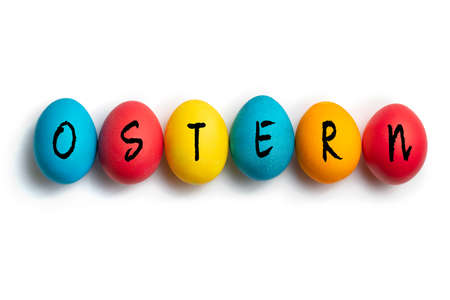 Easter Eggs on white background with message