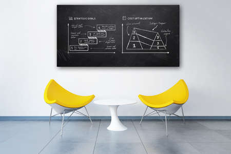 3d rendered modern office with business plan doodles on a blackboard above two chairs like in a meeting room