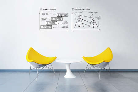 3d rendered modern office with business plan doodles on the wall above two chairs like in a meeting room Banque d'images