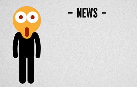 surprised emoticon on a drawn person and the word news on paper background