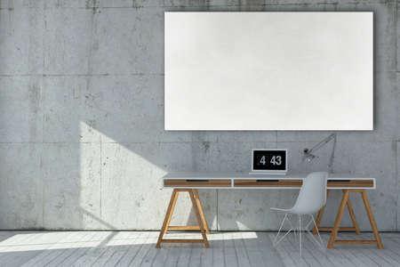 Lieu de travail moderne rendu 3D avec tableau blanc vide