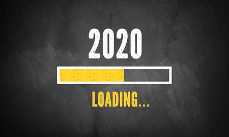 progress bar showing loading of 2020 on a blackboard