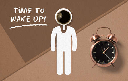 classical copper colored alarm clock and a drawn person in a Wake Up concept with the message time to wake up on paper background