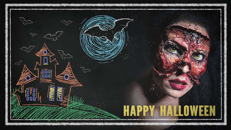 creepy woman with her face missing with message Happy Halloween on a blackboard with drawings 스톡 콘텐츠