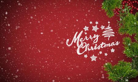 Decorazione natalizia e messaggio di buon Natale su sfondo di carta rossa