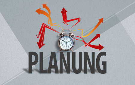 alarm clock on paper background with the German word for planning