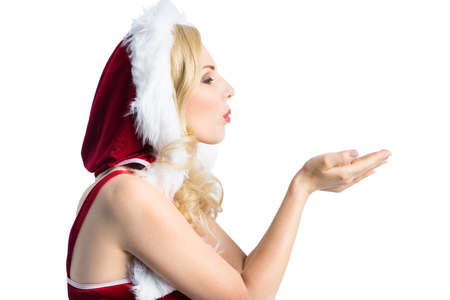 attractive blonde miss santa isolated on white background