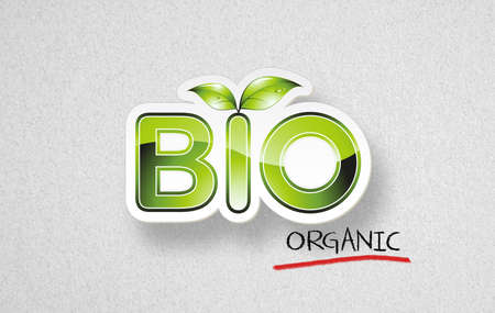 Eco branding concept with word BIO on paper background