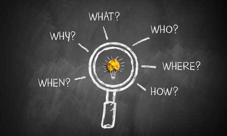 """magnifier glass on a blackboard with the words """"when, why, what, who, where, how"""""""