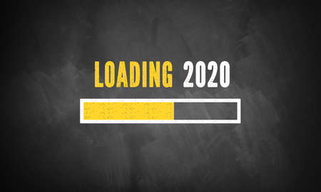 progress bar showing loading of 2020 drawn on a chalkboard