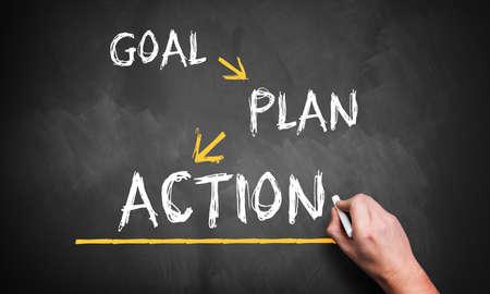 hand schrijft 'doel, plan, actie' op blackboard