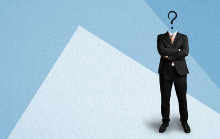 headless businessman with a questionmark on paper background