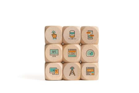 cubes with icons smybolizing cloud services isolated on white background