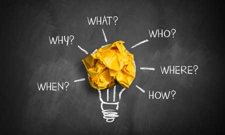 """crumpled paper on a blackboard with the words """"when, why, what, who, where, how"""""""