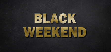 text Black Weekend in golden letters on black background