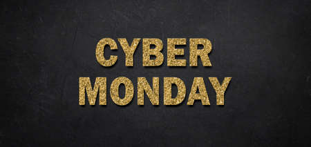 text Cyber Monday in golden letters on black background Stock fotó