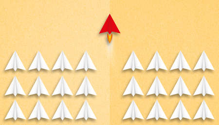 little airplanes and a red one symbolizing leadership on paper background Stock fotó