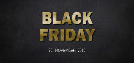 text Black Friday in golden letters with 2019 date on black background