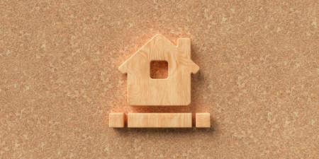 3D rendered house symbol on cork background with blocks for own message