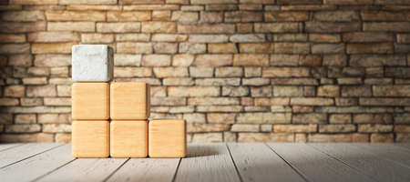 empty wooden blocks for own text on wooden floor in front of  a brick wall - 3D rendered illustration