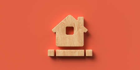 3D rendered house symbol on orange background with blocks for own message