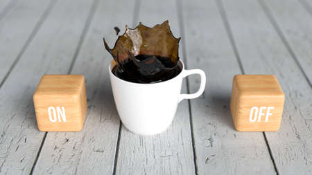 cup of coffee and cubes with the words OFF and ON on wooden background - 3D rendered illustration