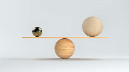 wooden scale balancing a big wooden and a small metal ball in front white background - 3D rendered illustration