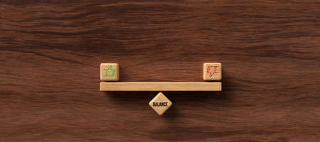 wooden blocks formed as a seesaw with the word BALANCE on wooden background - 3D rendered illustration