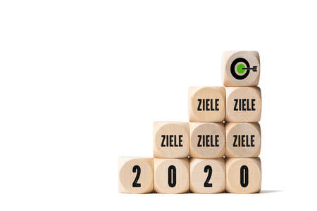 cubes with the word goals in German and the number 2020 on white background 写真素材 - 140389554
