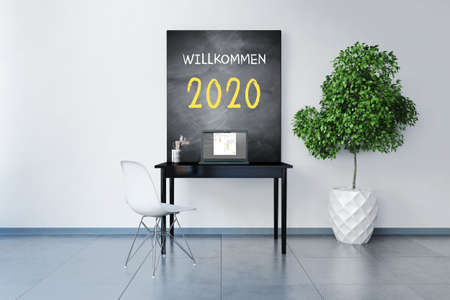 Rendered room with workplace and chalkboard with German message for Welcome 2020