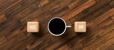 cup of coffee and cubes with the German words for OFF and ON on wooden background - 3D rendered illustration 版權商用圖片