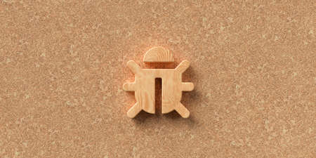 3D rendered bug symbol  in front of cork background