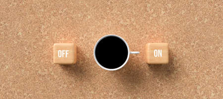 cup of coffee and cubes with text ON and OFF on cork background - 3D rendered illustration 写真素材